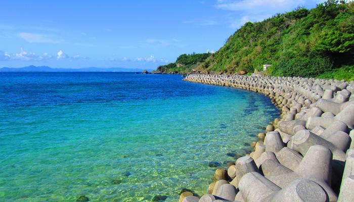 Tétrapodes sur une plage japonaise